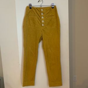 Free People Button Down Mustard Yellow Pants